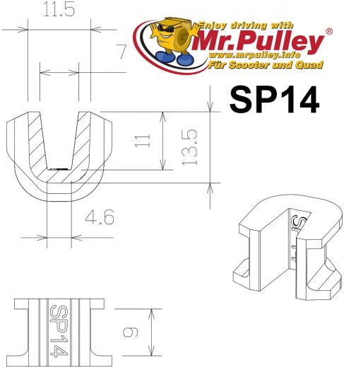 TechPulley sliding pieces SP14