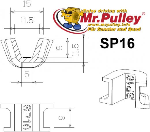 TechPulley sliding pieces SP16