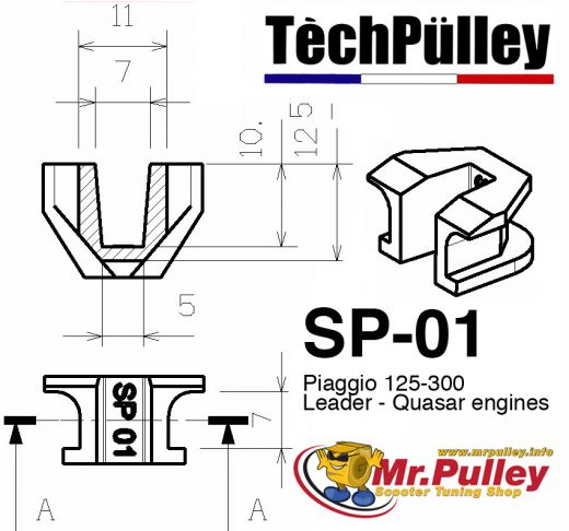 TechPulley sliding pieces SP01 / SP2017-N / SP1917-N